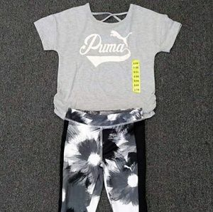 Puma Gray Tee Leggings Active Girls Set
